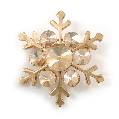 Gold Tone Crystal Snowflake Brooch - 37mm L