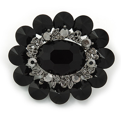Black Glass Stone, Crystal Oval Corsage Brooch In Gun Metal - 60mm