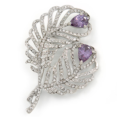 Clear Crystal, Amethyst Cz Double Feather Brooch In Rhodium Plating - 60mm L - main view