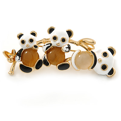 Black/ White Enamel Three Panda Brooch In Gold Plating - 50mm L