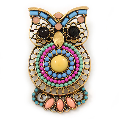 Vintage Inspired Multicoloured Acrylic Bead Owl Brooch In Burnt Gold Tone - 48mm