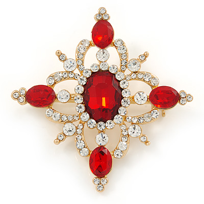 Red/ Clear Austrian Crystal Diamond Shape Corsage Brooch In Gold Plating - 50mm L