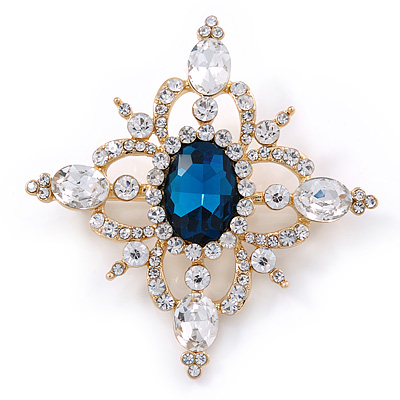 Teal Blue/ Clear Austrian Crystal Diamond Shape Corsage Brooch In Gold Plating - 50mm L