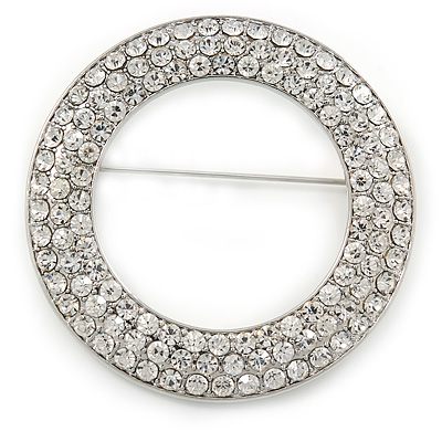 Clear Austrian Crystal Open Cut Circle Brooch In Rhodium Plating - 50mm