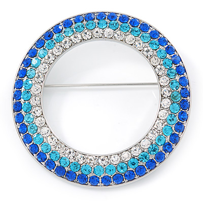 Blue/ Aqua/ Clear Austrian Crystal Open Cut Eternity Circle of Love Brooch In Rhodium Plating - 50mm
