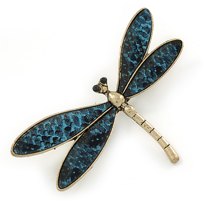 Gold Tone Teal Blue Snake Style Faux Leather Dragonfly Brooch - 70mm W