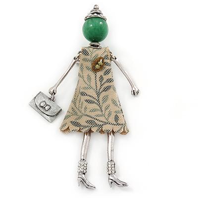 Green/ Beige Doll Brooch In Silver Tone Metal - 95mm L