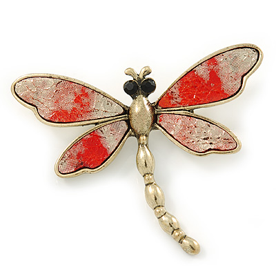 Vintage Inspired Metallic Silver/ Red Glitter Foil Dragonfly Brooch In Gold Tone - 65mm