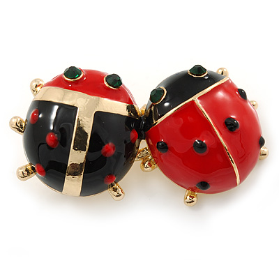 Black/ Red Enamel Double Ladybug Brooch In Gold Plating - 35mm