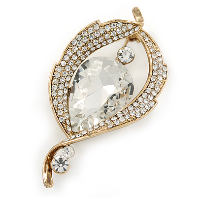 Vintage Inspired Clear Glass Stone Leaf Brooch In Antique Gold Tone - 60mm L