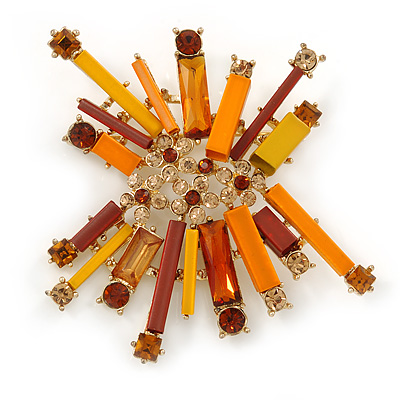 Orange, Brown Metal Bar and Citrine Crystal Cluster Brooch In Gold Tone - 55mm L
