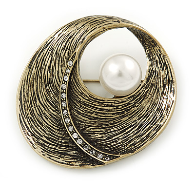 Vintage Inspired Textured, Crystal 'Shell' with Pearl Brooch In Antique Gold Metal - 45mm L