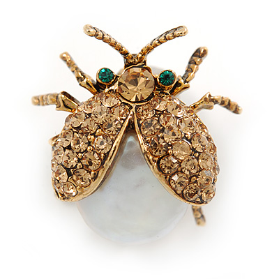 Small Light Topaz Austrian Crystal, Freshwater Pearl Ladybug Brooch In Gold Tone Metal - 22mm L