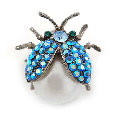 Small AB Blue Austrian Crystal, Freshwater Pearl Ladybug Brooch In Black Tone Metal - 22mm L