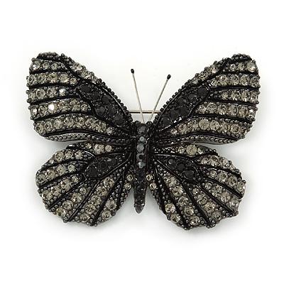 Black/ Grey Austrian Crystal Butterfly Brooch In Gold Tone - 50mm W