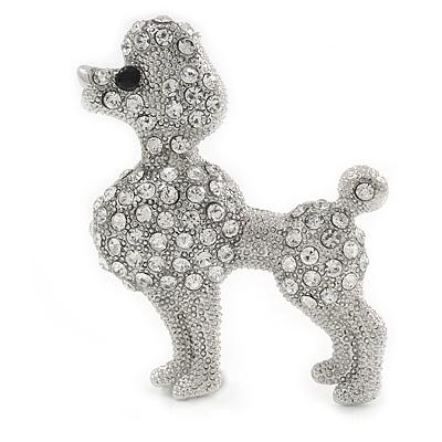 Silver Tone Clear Crystal Poodle Dog Brooch - 40mm Width