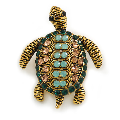 Vintage Inspired Austrian Crystal Turtle Brooch In Antique Gold Tone Metal - 35mm L