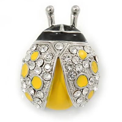 Yellow/ Black Enamel Crystal Ladybug Brooch In Rhodium Plating - 35mm L