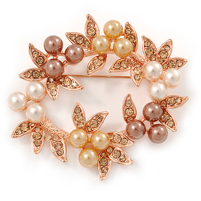 White/ Brown/ Light Orange Faux Pearl, Crystal Wreath Brooch In Rose Gold Tone Metal - 55mm W - main view