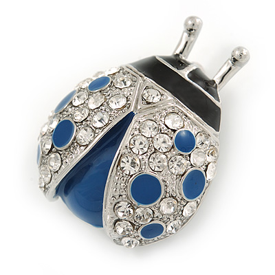 Blue/ Black Enamel Crystal Ladybug Brooch In Rhodium Plating - 35mm L
