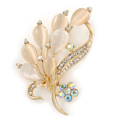 Neutral Cat Eye Stone, Crystal Floral Brooch In Gold Tone Metal - 55mm L - main view