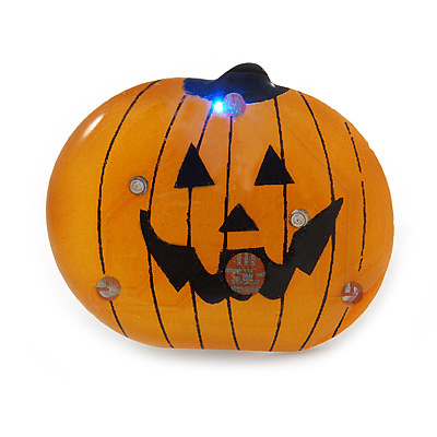 Flashing LED Blue and Red Lights Halloween Pumpkin Brooch - 30mm