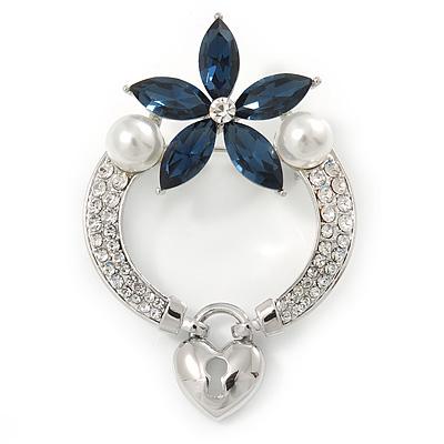 Rhodium Plated Montana Blue CZ Flower, Clear Crystal Fancy Brooch - 55mm Across