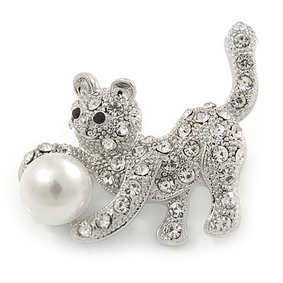 Small Crystal Kitten with Ball Brooch In Silver Tone Metal - 30mm Across