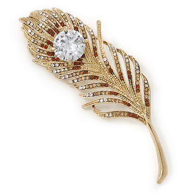Large Austrian Crystal Peacock Feather Brooch In Gold Plating (Clear/ Amber/ Citrine) - 11cm Length