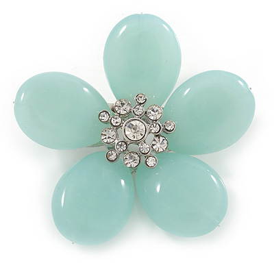 Pale Green Resin Stone Daisy Brooch - 60mm Across