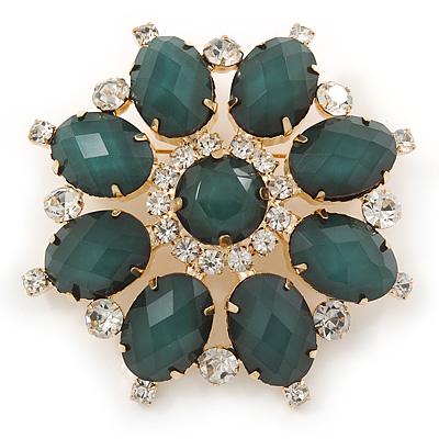 Dark Green Acrylic, Clear Crystal Flower Corsage Brooch In Gold Tone - 60mm Across
