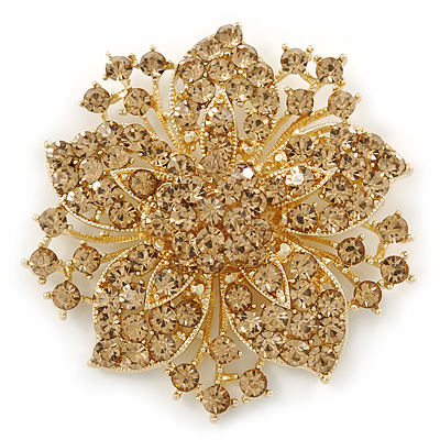 Victorian Style Corsage Flower Brooch In Gold Tone & Champagne Coloured Crystals - 55mm Across - main view