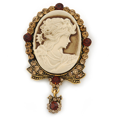 Vintage Inspired Amber/ Champagne Crystal Cameo with Charm Brooch In Antique Gold Tone - 63mm Across - main view