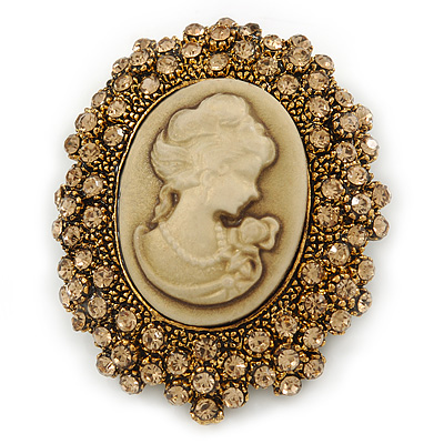 Vintage Inspired Champagne Crystal Cameo In Bronze Tone Metal - 50mm L - main view