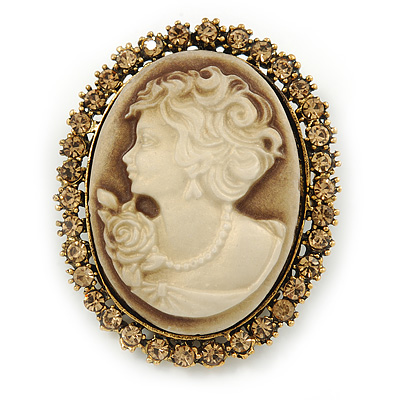 Vintage Inspired Champagne Crystal Cameo In Antique Gold Metal - 48mm L - main view