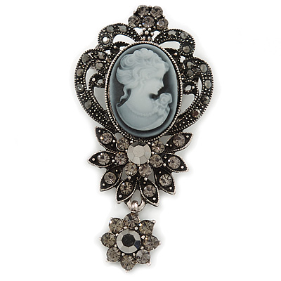 Vintage Inspired Dark Grey/ Hematite Crystal Cameo with Charm Brooch In Antique Silver Tone - 65mm L