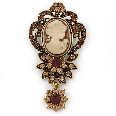 Vintage Inspired Amber/ Champagne Crystal Cameo with Charm Brooch In Bronze Tone - 65mm L
