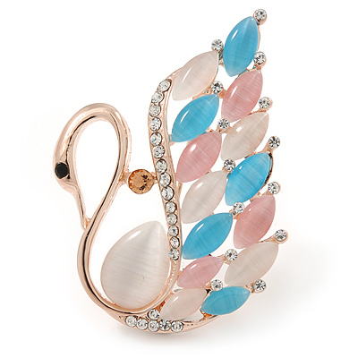 Gold Plated Multicoloured Cat Eye Stone, Clear Crystal Swan Brooch - 45mm L - main view