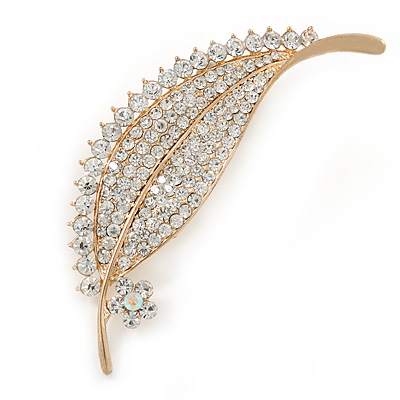 Clear Crystal Pave Set Leaf Brooch In Gold Tone - 75mm L