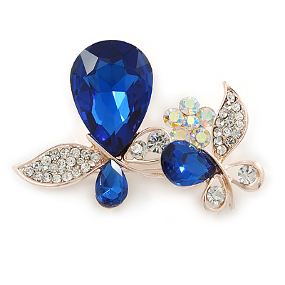 Clear Crystal, Blue Glass Stone Double Butterfly Brooch In Gold Plating - 50mm Across