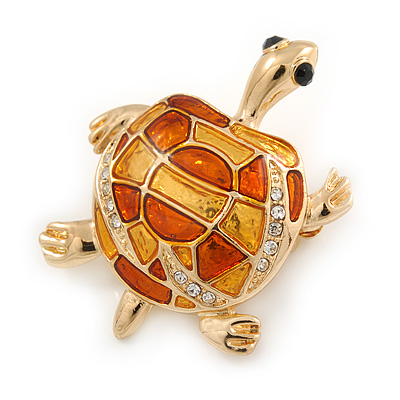 Gold Plated Crystal Enamel Turtle Brooch - 40mm L