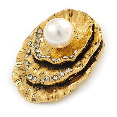 Vintage Inspired Textured, Crystal Shell with Pearl Brooch In Antique Gold Metal - 50mm L - main view