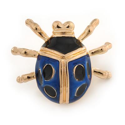 Black/ Dark Blue Enamel Lady Bug Brooch In Gold Plated Metal - 30mm L