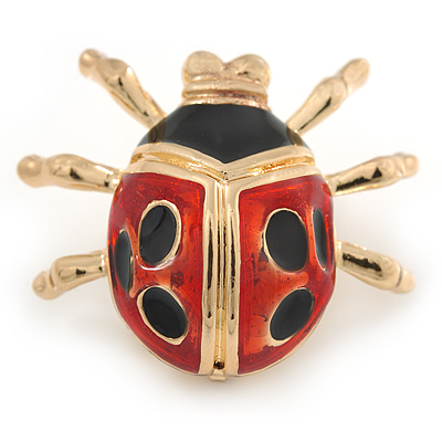 Black/ Red Enamel Lady Bug Brooch In Gold Plated Metal - 30mm L