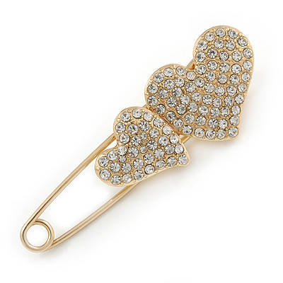 Gold Plated, Clear Crystal Double Heart Safety Pin Brooch - 70mm L