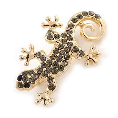 Small Grey Crystal Lizard Brooch In Gold Plated Metal - 35mm L
