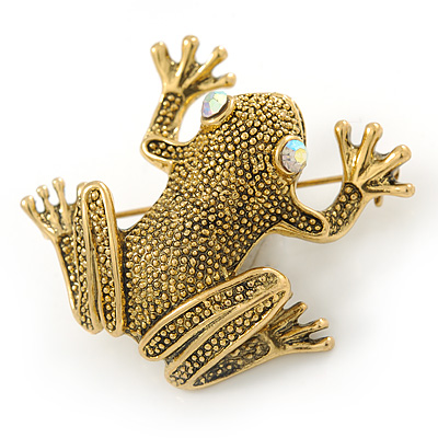 Antique Gold Textured Frog Brooch - 40mm