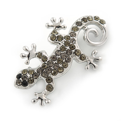 Small Grey Crystal Lizard Brooch In Rhodium Plated Metal - 35mm L
