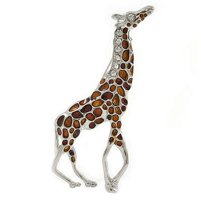 Rhodium Plated Brown Enamel, Clear Crystal Giraffe Brooch - 75mm L