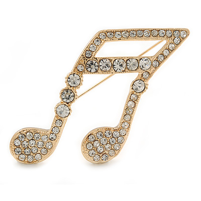 Large Gold Plated Pave Set Clear Crystal Musical Note Brooch - 50mm L